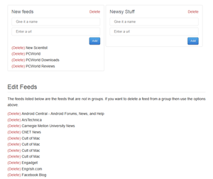 SyndiFeed add/delete feeds interface