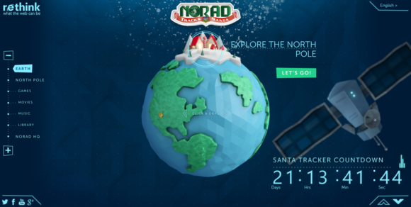 Bing Santa Tracker Globe Screenshot