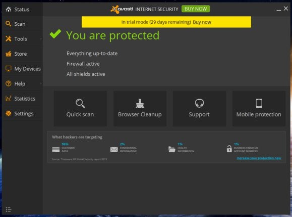 avast main screen