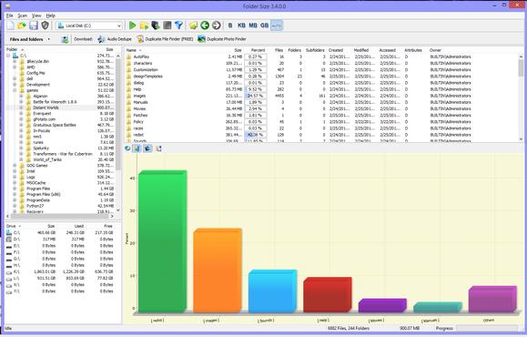 folder size bar chart