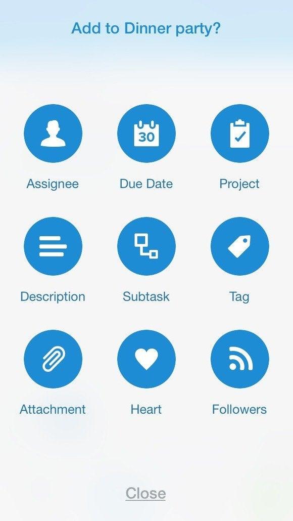 Asana quick-add screen on an iPhone