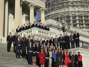 Freshman members of the incoming 114th Congress on the steps of the Capitol.