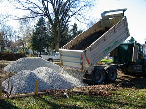 dump truck gravel construction pit