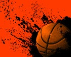 Graphic grunge background with basketball