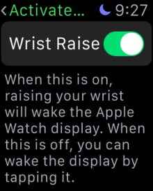 disable activate on wrist raise apple watch