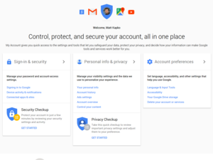 google myaccount settings