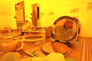 IBM engineer reflected in wafer