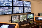 Bank of security surveillance monitors