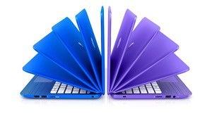 hp stream cobolt blue and violet purple