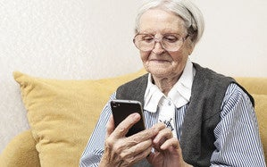 grandmother with phone