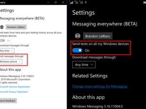 windows messaging everywhere settings
