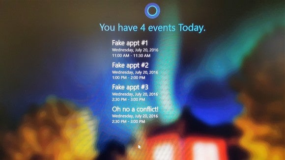 Windows 10 Anniversary Update calendar on lock screen